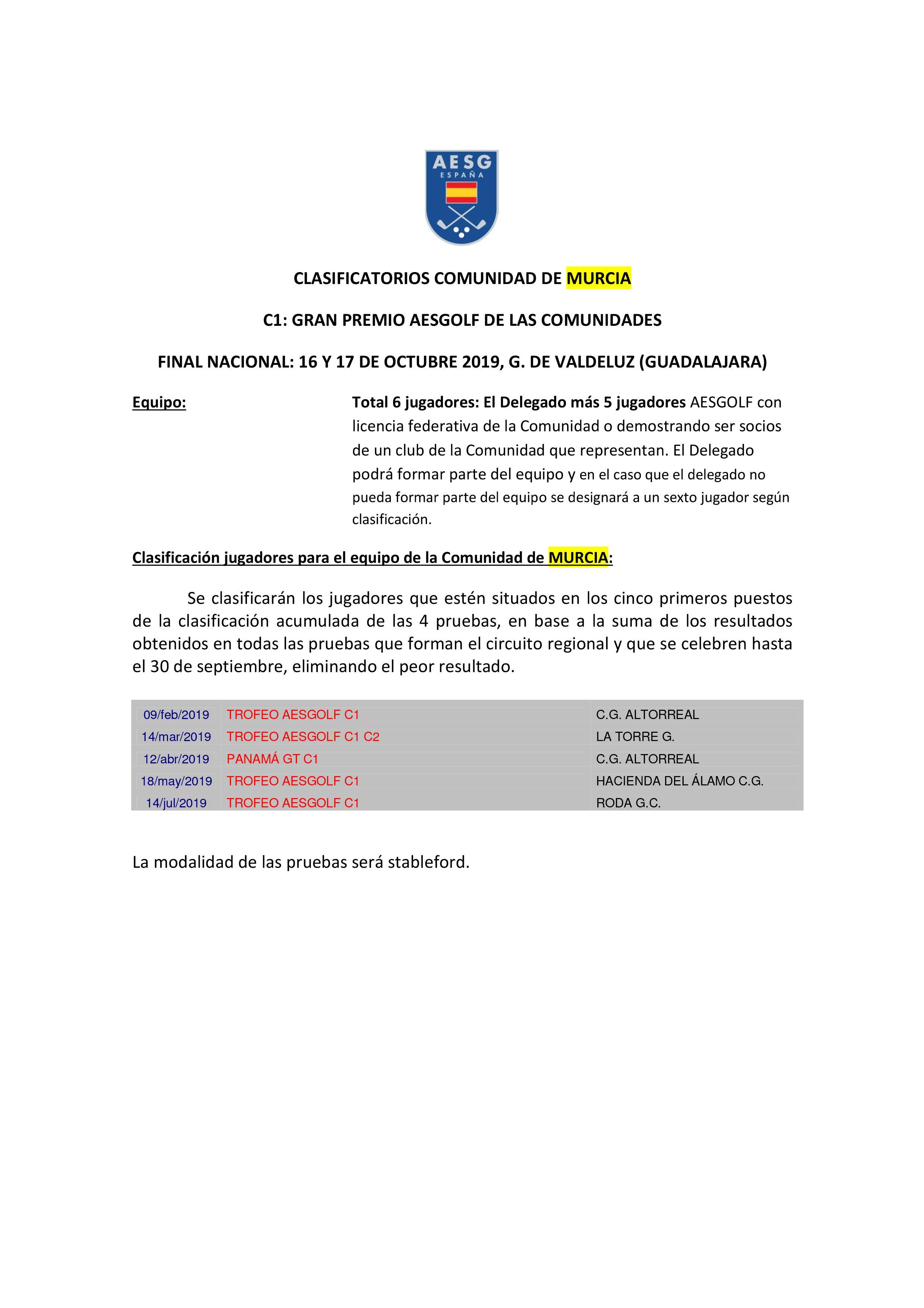Calendario 2019 Murcia.190209 Alt Calendario Aesgolf Murcia